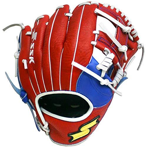 SSK Baseball S19JBHBKI99 Javier Baez Web Pro Gloves, Black/Red/Royal, 11.5