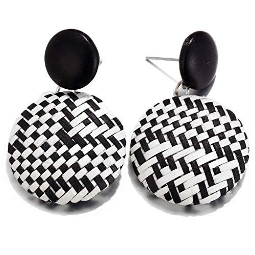 ANJUNIE Women Girls Boho Woven Straw Wicker Braid Earrings Handmade Geometric Lightweight -