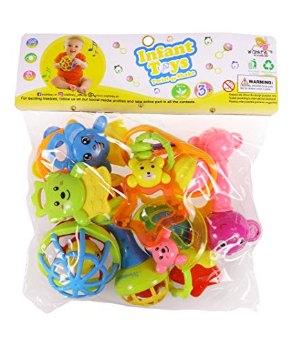 WISHKEY Colorful Non Toxic BPA Free 9 Rattles and 3 Teethers Toys Set for Babies ,Infants
