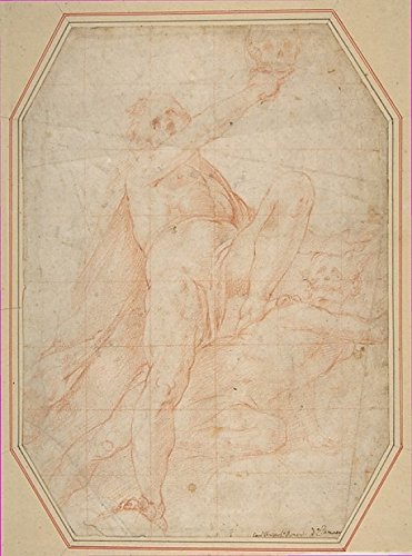 Two Nudes Seen from Below (recto) Male Figure with Upraised Arm (verso) Poster Print by Pomarancio (18 x 24)