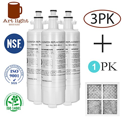 Art light LT700P Kenmore 46-9690 Water Filter 3Pack + Air filter Replacement for LG LT700P Kenmoreclear 46-9690 LG ADQ36006101 ADQ36006102 ADQ36006102S LT700PC SWIFT GREEN SGF-LA07 WATER SENTINEL WSL