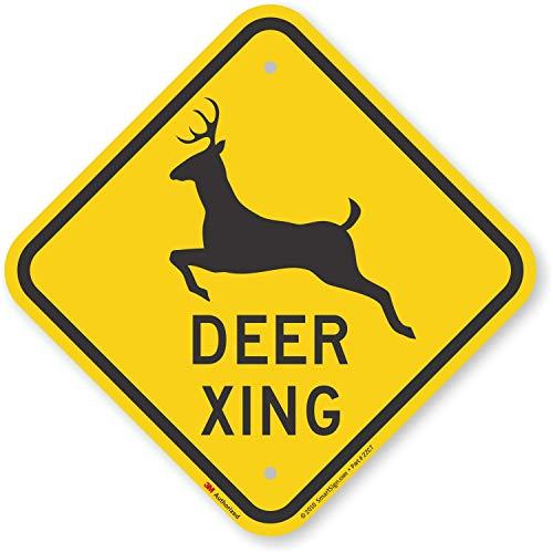 """Deer Xing"" Crossing Sign By SmartSign | 12"" x 12"" 3M Engineer Grade Reflective Aluminum"