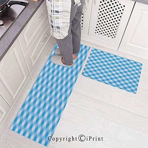 Non-Slip Rubber Backing Carpet Kitchen Mat,Blue and White Gingham Fabric Texture Image Country Style Plaid Crossed Stripes Decorative Doormat Runner Bathroom Rug 2 Piece Sets,15.7