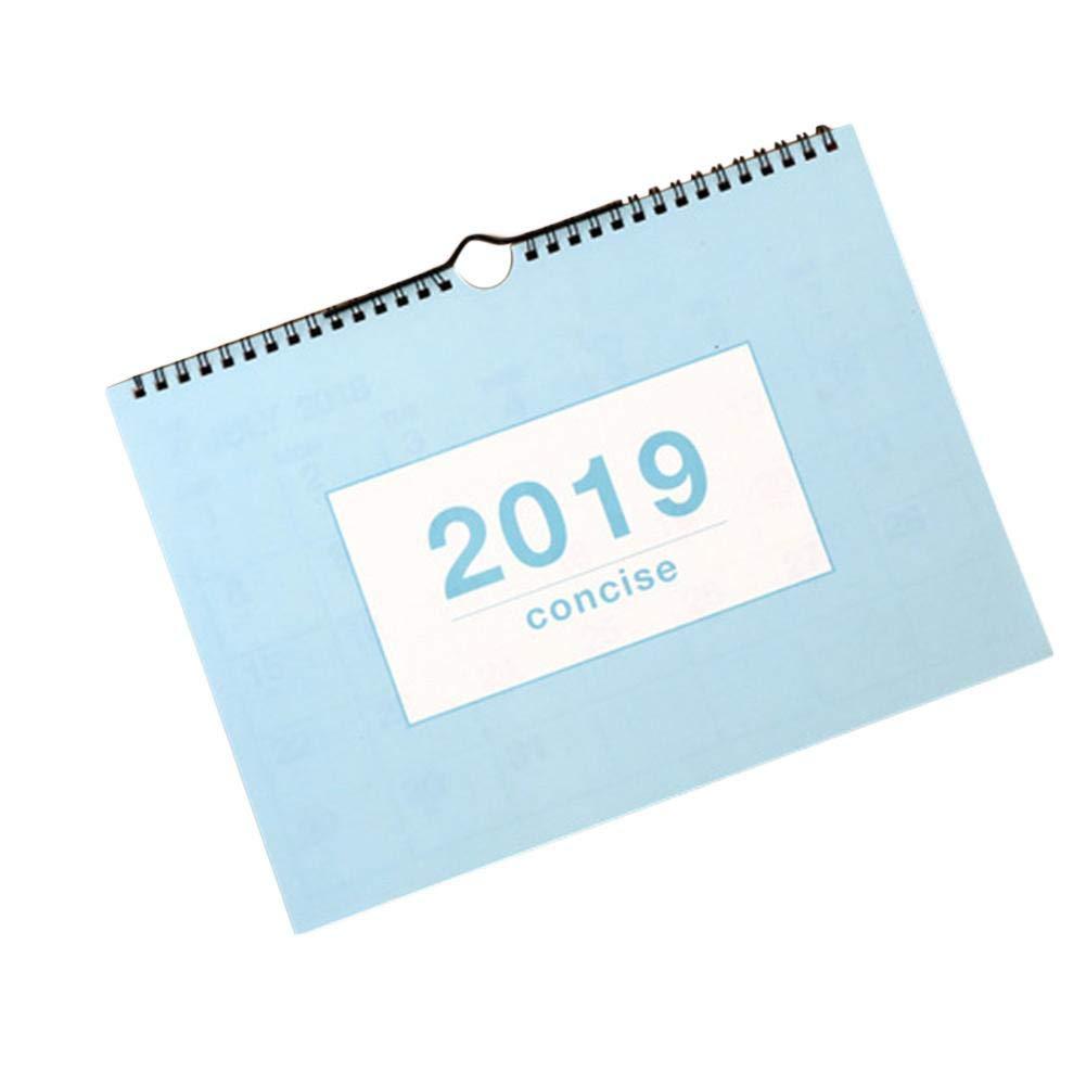 2018-2019 Calendrier mural de calendrier mensuel Calendrier de bureau Calendrier de l'année scolaire pour l'école, le bureau, la maison, les câbles jumelés, début juillet 2018 jusqu'en décembre 2019 Xianjun