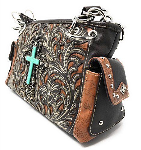 Embroidery Coffee in Purse West Montana Flower with Matching Cross Rhinestone Colors Wallet Handbag Multi OHIqZfRw