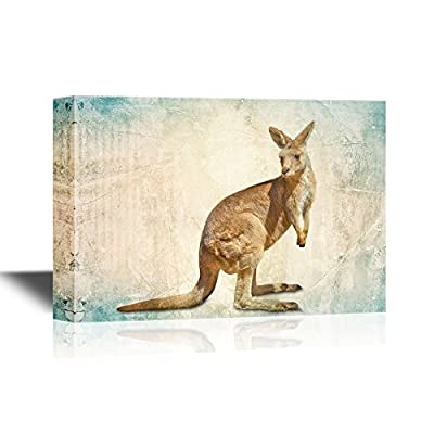 Wall26 - Wild Animal Canvas Wall Art - Kangaroo On Abstract Background - Gallery Wrap Modern Home Decor | Ready To Hang - 12X18 Inches - Sloth Art