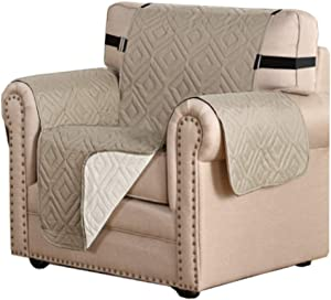 "Reversible Chair Cover Furniture Protector Anti-Slip Couch Cover Water Resistant 2 Inch Wide Elastic Straps Chair Slipcover Pets Kids Fit Sitting Width Up to 21"" (Chair, Khaki/Beige)"