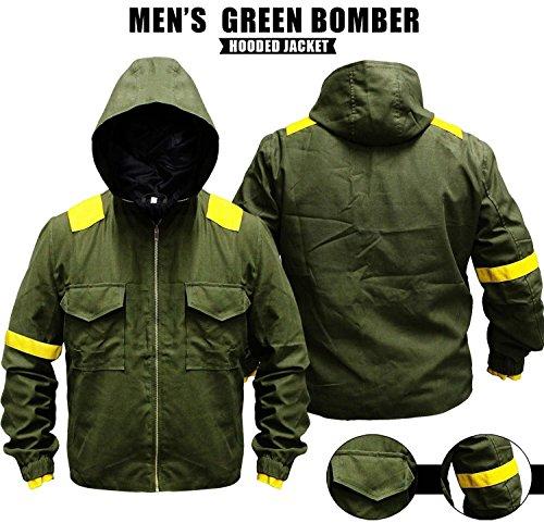 Mens Pilots Green Bomber Varsity Cotton Hood Jacket