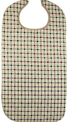 HEAD2TOE Beige Plaid Design Adult Bib with Vinyl Backing and Snap Closure - 2 Pack