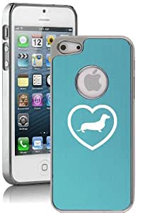 Apple iPhone 5 5S Light Blue 5E266 Aluminum Plated Chrome Hard Back Case Cover Heart Dachshund Puppy Dog