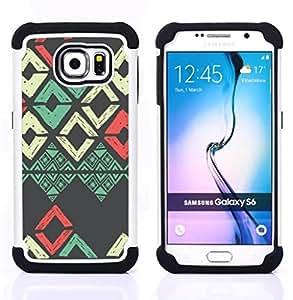 For Samsung Galaxy S6 G9200 - teal white pink grey pattern Dual Layer caso de Shell HUELGA Impacto pata de cabra con im??genes gr??ficas Steam - Funny Shop -