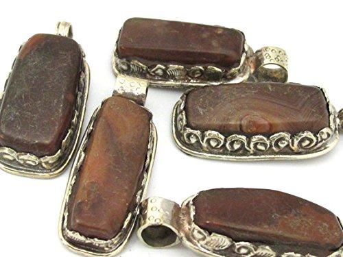 (1 Pendant - Himalayan natural carnelian gemstone tibetan silver pendant with flower carving - PM456G)