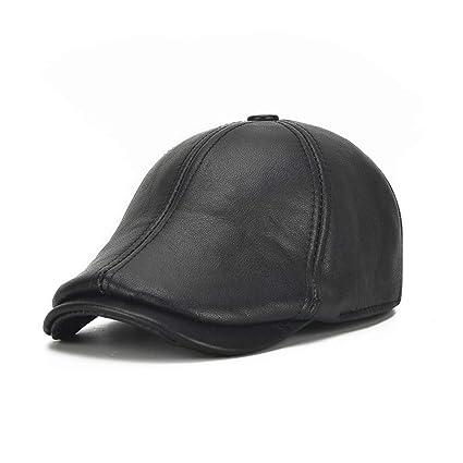 JDDRCASE Sombreros de Moda Gorras, Hombres Sombrero de Cuero Otoño Invierno Orejeras Gorro cálido Gorra