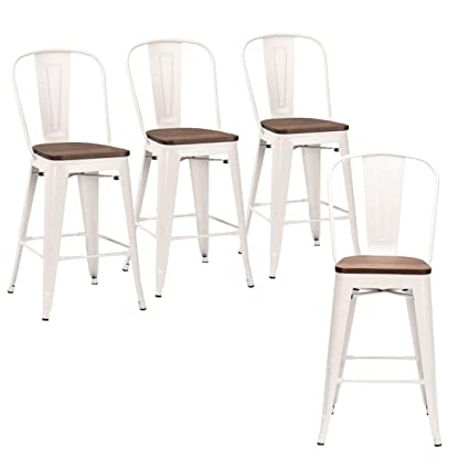 Marvelous Andeworld Set Of 4 Tolix Style Counter Height Bar Stools Industrial Metal Bar Stools Indoor Outdoor High Back White Wooden 30 Inch Gmtry Best Dining Table And Chair Ideas Images Gmtryco