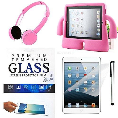 Kids iPad Accessory Bundle: Apple iPad Mini Protector Case (Mini 2,3,4), Screen Tempered Glass Film, Stylus and Bonus Headphones