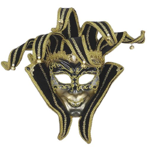 [Forum Novelties Men's Venetian Style Jester Mask, Gold/Black, One Size] (Male Masquerade Mask)