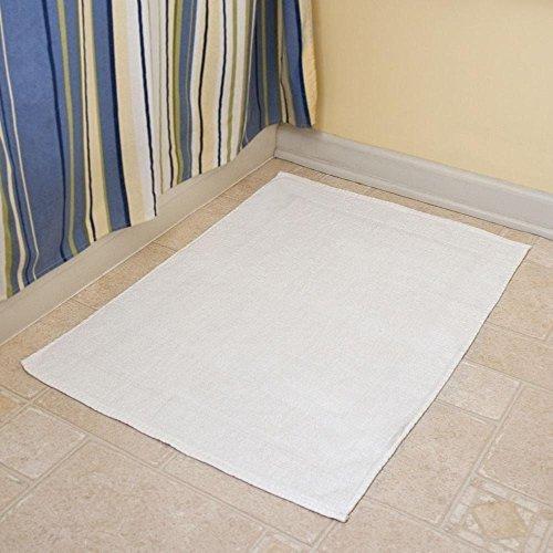 3 New White Cotton Economy Bath Mats 5.25#dz 18x24 Light Weight Fast Drying