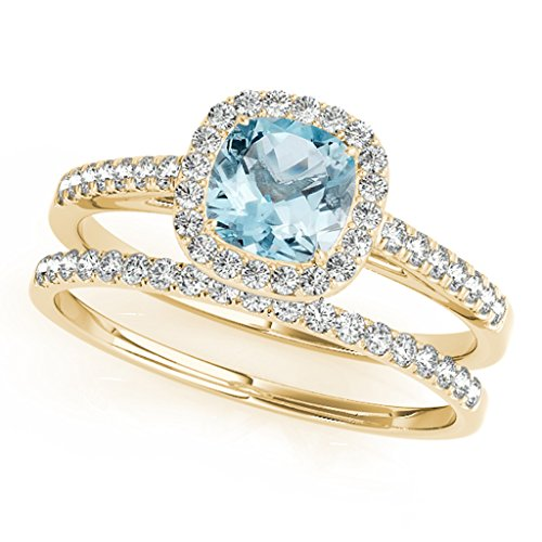 120-Ct-Ttw-Cushion-Shape-Aquamarine-Bridal-Set-In-10k-Yellow-Gold