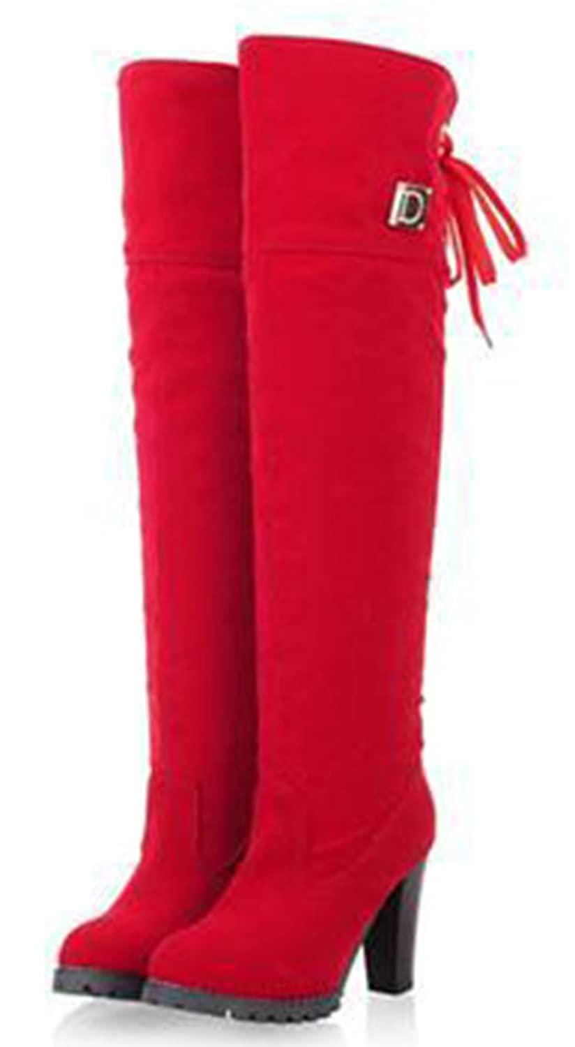 Women's Elegant Red Over the Knee Chunky High Heel Faux Suede Boots