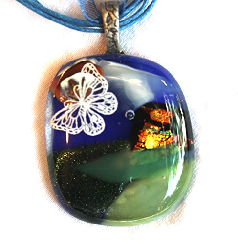 Dichroic Glass Pendant - One of a Kind Dichroic Fused Glass Pendant of scenic with butterfly
