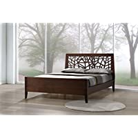Wholesale Interiors Baxton Studio Solid Wood Platform Base Bed Frame, Queen, Dark Brown
