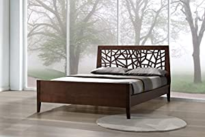 wholesale interiors baxton studio solid wood platform base bed frame king dark brown - Solid Wood Platform Bed Frame King