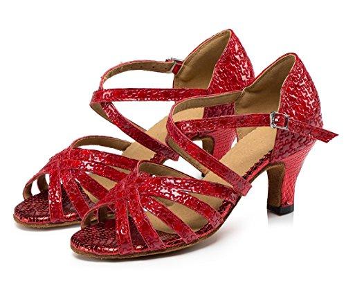 Latin TDA Red Ballroom Leather Dance Tango Shoes Wedding Heel Ankle Strap Modern Mid Salsa Women's q1wFAqxB