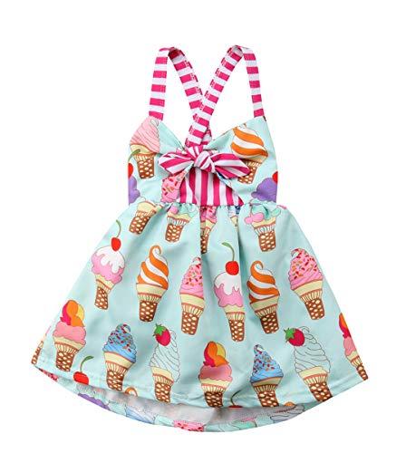 Toddler Baby Girls Summer Skirt Ice Cream Print Sleeveless Strap Backless Dress (Green, 2-3 T)