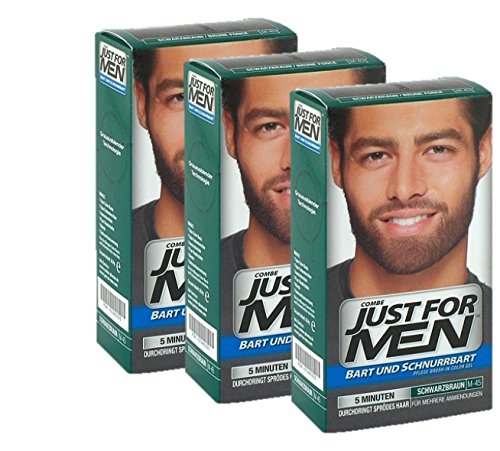 Just For Men Brush in Color Gelformel Bart Und Schnurrbart, schwarz / braun, 3er Pack, 1er Pack (1 x 28 g)