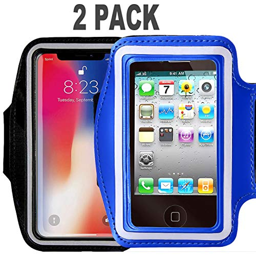 [2pack]Armband Phone Case For iPhone X 8 7 6 6S Plus,LG G6,Galaxy s9 s8 s7 s6 Edge,[Water Resistant] CaseHQ Sports Exercise Running workout reflective Pouch reflective with Key Holder (black+darkblue) -