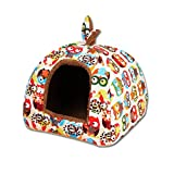 UEETEK Detachable Dog Cat Cave Bed House Tent Bunny Ears Soft Warm Dog Basket Cushion Sofa size S