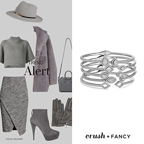 Crush & Fancy Pavè Crystal Bangle Bracelet | 925 Sterling Silver Bangle Bracelet with Crystals | Crystal Bangle with Teardrop Centers | Perfect for Stacking Bangles (CLEO) by Crush & Fancy (Image #3)