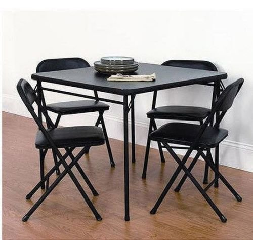 Wakrays 5 pc Rectangle Foldable Game Marble Dining Table Set with 4 Chairs Kitchen Breakfast Furniture