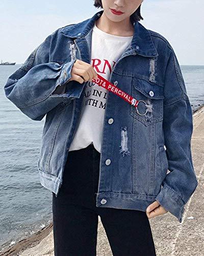 Manica Bolawoo Strappato Marca Tasche Giaccone Di Mantello Blau Mode Elegante Con Donna Giovane Lunga Cappuccio Giacca Single Baggy Jeans Breasted Bavero Giacche Autunno q6XSw6r7x