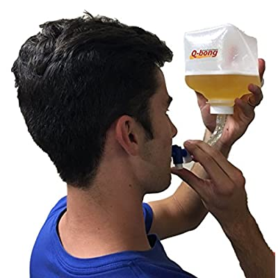 Q-bong Beer Bong – World's First Pressurized Beer Bong Funnel with easy to use valve – compact & explosive – Ideal for college drinking games, bachelor parties, gag gifts and stocking stuffer