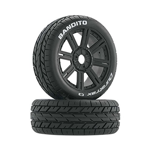 (Duratrax Bandito 1:8 Scale RC Buggy Tires with Foam Inserts, C3 Super Soft Compound, Mounted on Black Wheels (Set of 2))