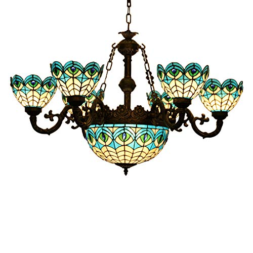 Makenier Vintage Tiffany Mediterranean Style Peacock Blue Stained Glass 6 Arms Chandelier with 12 Inches Inverted Ceiling Pendant Lamp