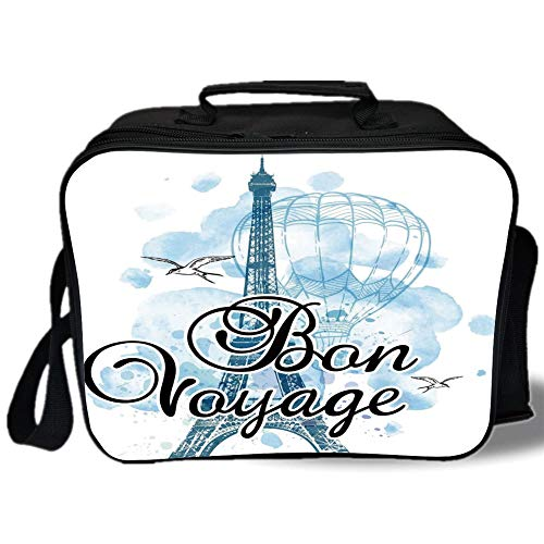 Insulated Lunch Bag,Going Away Party Decorations,Eiffel Tower Air Balloon Watercolor Bon Voyage Bird,Light Blue Black Blue,for Work/School/Picnic, Grey - Bird Voyage Pet