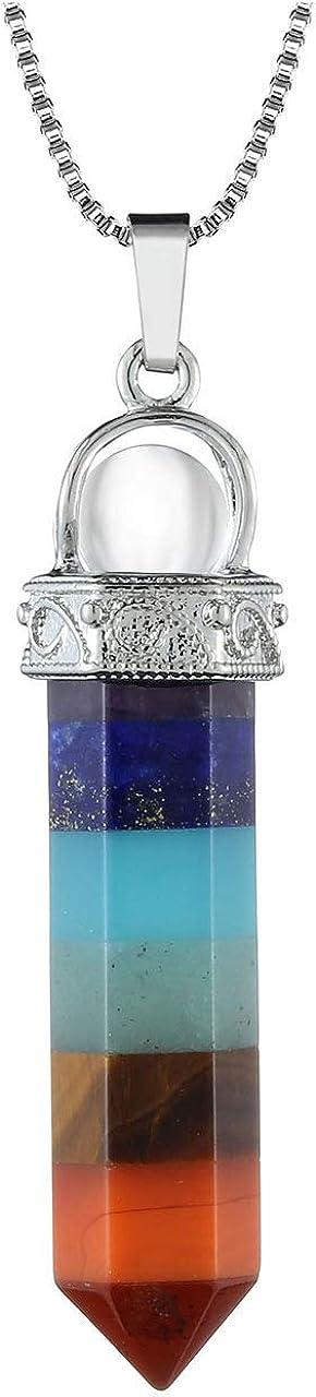 Jovivi - Collar con 7 chakras de piedras preciosas, colgante hexagonal con bola de cristal de roca, terapia energética, Reiki, yoga, cadena