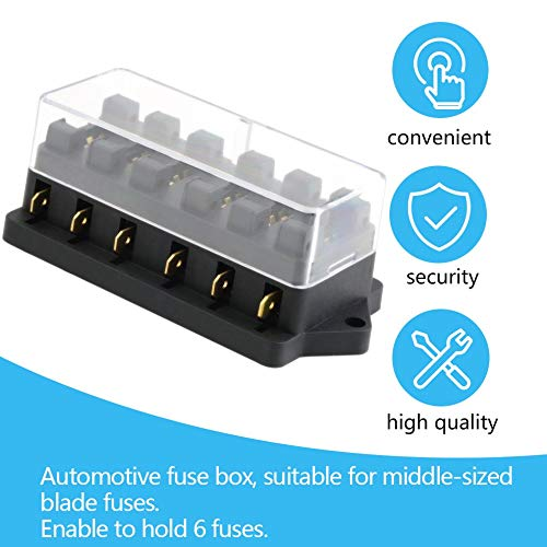 Amazon.com: Soberbarus Universal 12V 6 Way Fuse Box Block ...