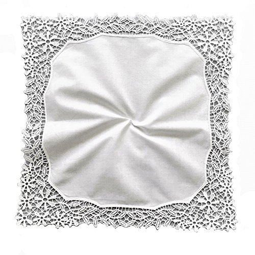 MyButterflyBasket Vine Flower Wedding Embroidery Crotchet Lace Handkerchiefs for Bride and Ladies, B601