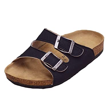 c48447ec2 Mallimoda Girls Boys Buckle Cork Sole Slippers Sandals Flip Flops Black 1M  US Little Kid