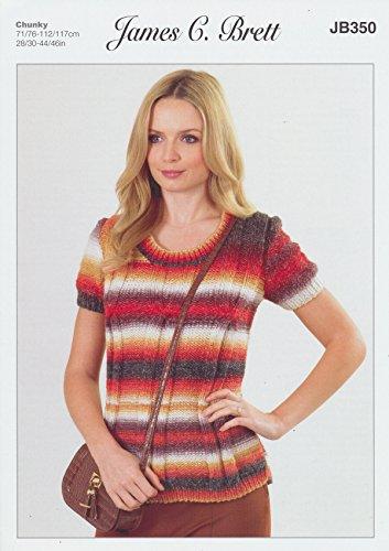 James Brett Womens Knitting Pattern Ladies Lakeland Chunky Short Sleeved Round Neck Sweater - Stores Lakelands