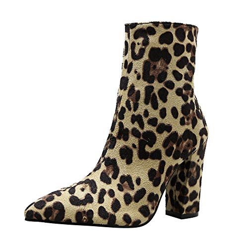 - Limsea Women High Shoes Boots Snakeskin Leopard Print Party Toe Zip Thick Pointed 7 Brown