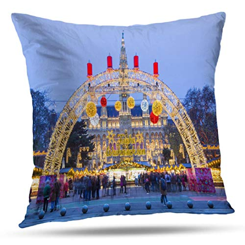Alricc Christmas Market and Vienna Park City Decorative Throw Pillows Cushion Cover for Bedroom Sofa Living Room 18X18 Inches