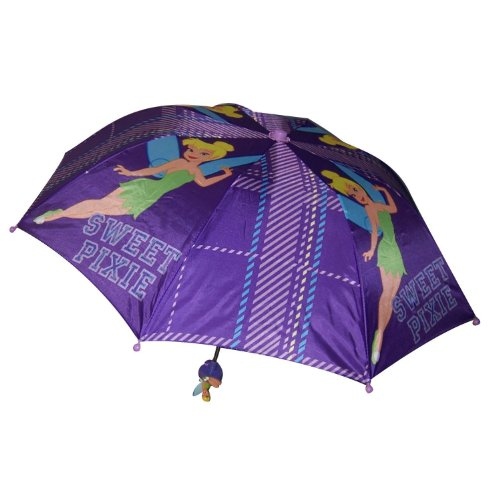 Tinkerbell Disney Fairies Girl's Purple Collapsible Umbrella with 3D Handle, Bags Central
