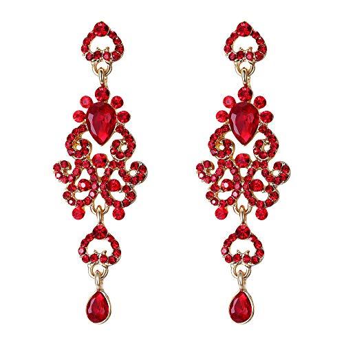 EVER FAITH Women's Crystal Bohemia Hollow Heart Teardrop Wedding Pierced Dangle Earrings Red Gold-Tone