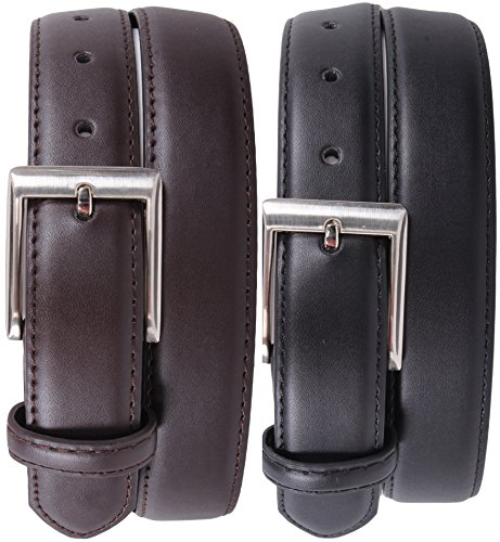 [Enimay Men's 2 Pack Black Brown Bonded Leather Belt Adjustable Metal Buckle Square Buckle | Classic 34] (Metal Classic Belt)