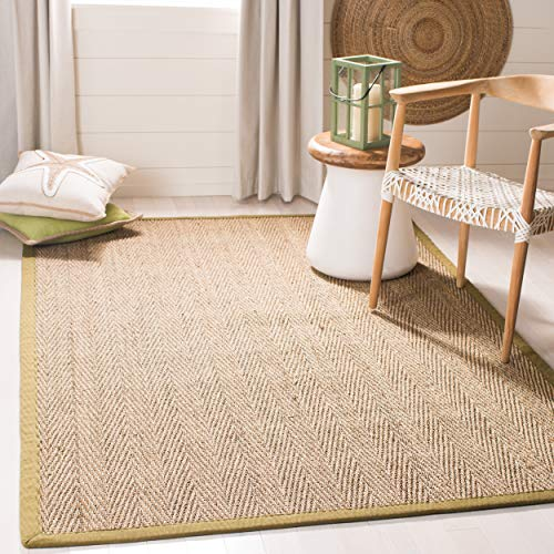 (Safavieh Natural Fiber Collection NF115G Herringbone Natural and Olive Seagrass Area Rug (6' x)