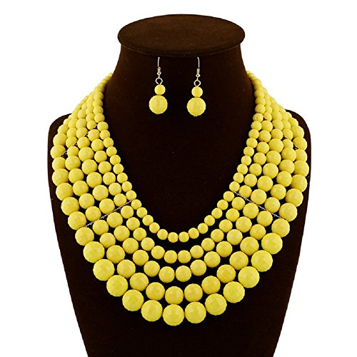 Plastic Beads Necklace Earrings - Jewelrydress Women Luxury Resin Beads Link Necklace Set With Earring Yellow